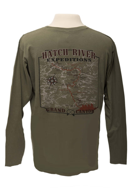 "Pigment Dyed ""Everglade"" Long Sleeve Tee with Colorado River map on back #23038"