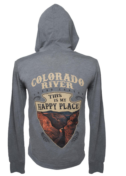 "Bella Canvas Long Sleeve ""Happy Place"" Arrowhead Hoodie - Grey Triblend"