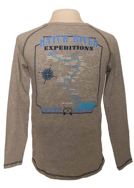 Women's Groove L/S Tee with Colorado River map on back - premium heather