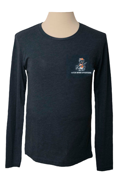 CLEARANCE Tri Blend Long Sleeve Tee with River Rat - Indigo
