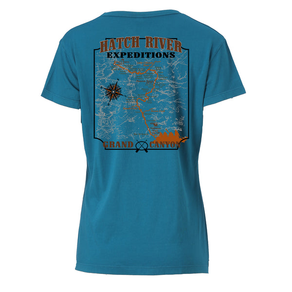 Women's Vital V-Neck Tee with Colorado River map on back - ocean depths
