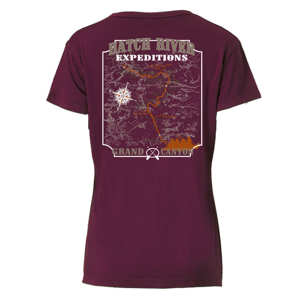 Women's Short Sleeve Vital V-Neck Tee - Velvet (maroon)