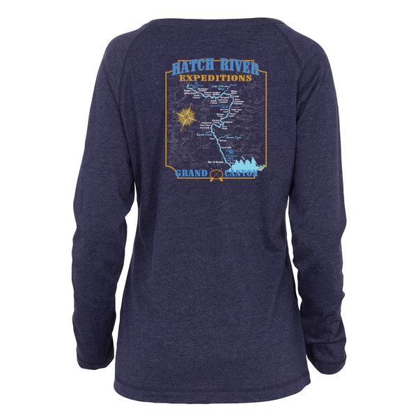 Women's Long Sleeve Essential Notch Neck Map Tee - Navy Heather