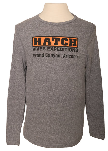 CLEARANCE Indie Long Sleeve Tee with Hatch Logo - vintage grey snow