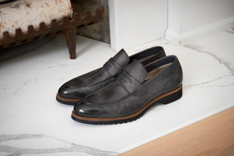 Men's loafer leather grey