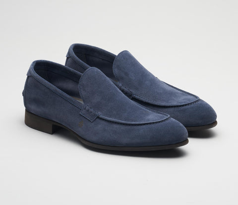 Italian mens shoes, blue suede loafer