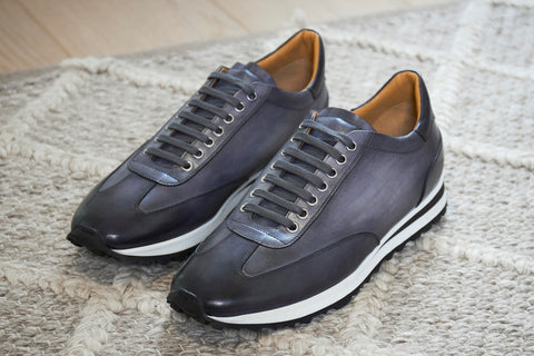 mens leather sneaker in grey, handmade, made in italy