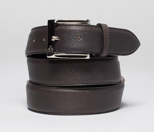 Belt in Pebble Grain Nero Fondente