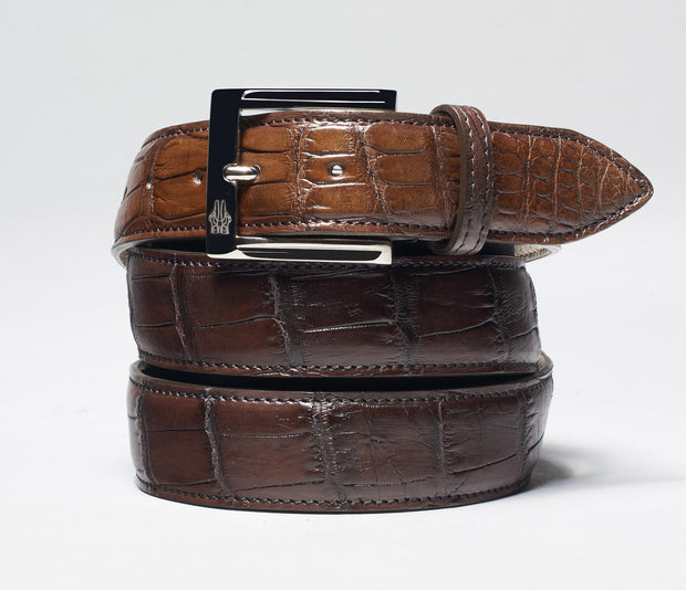 Belt in Alligator Ciccolato