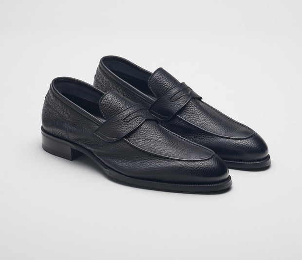 Men's loafer black deerskin, made in italy, handmade