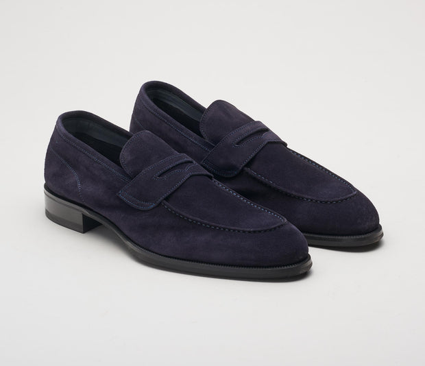 Men's loafer navy suede, made in italy, handmade