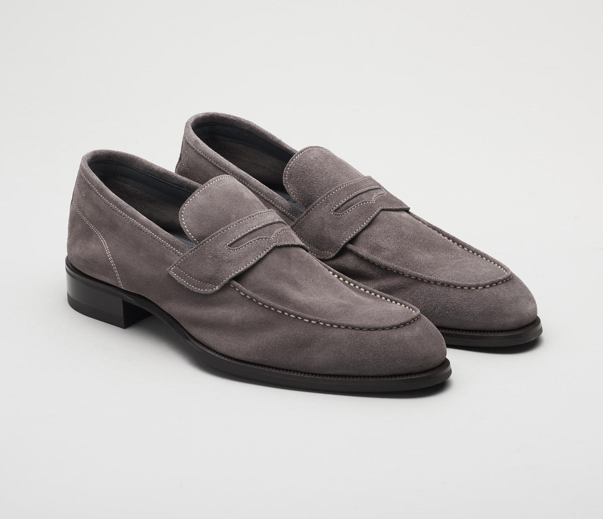 Men's loafer grey suede, made in italy, handmade