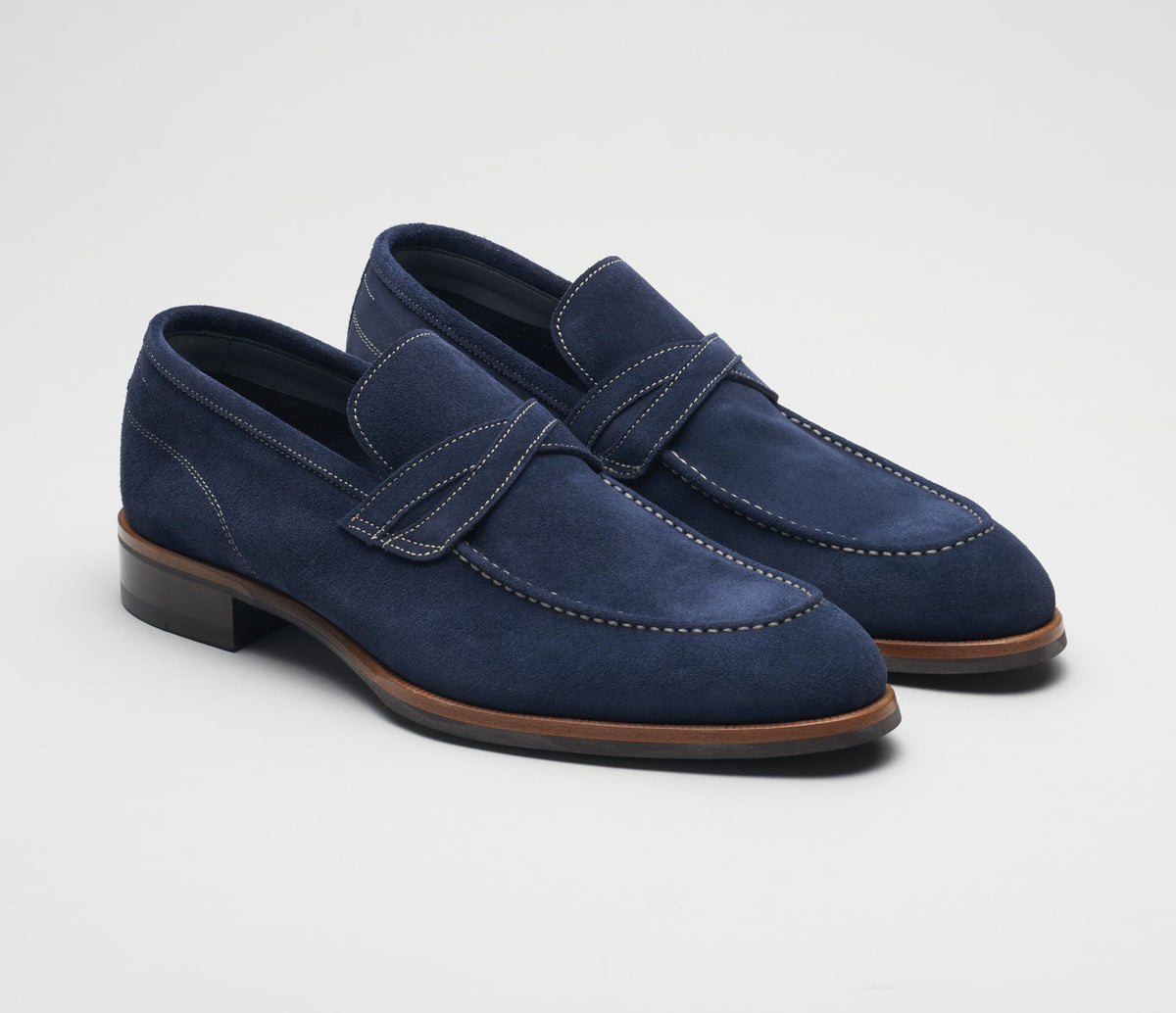 Men's italian shoes, men's suede loafer blue