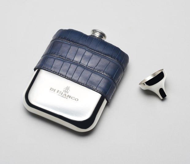 Alligator Pewter Flask - Navy