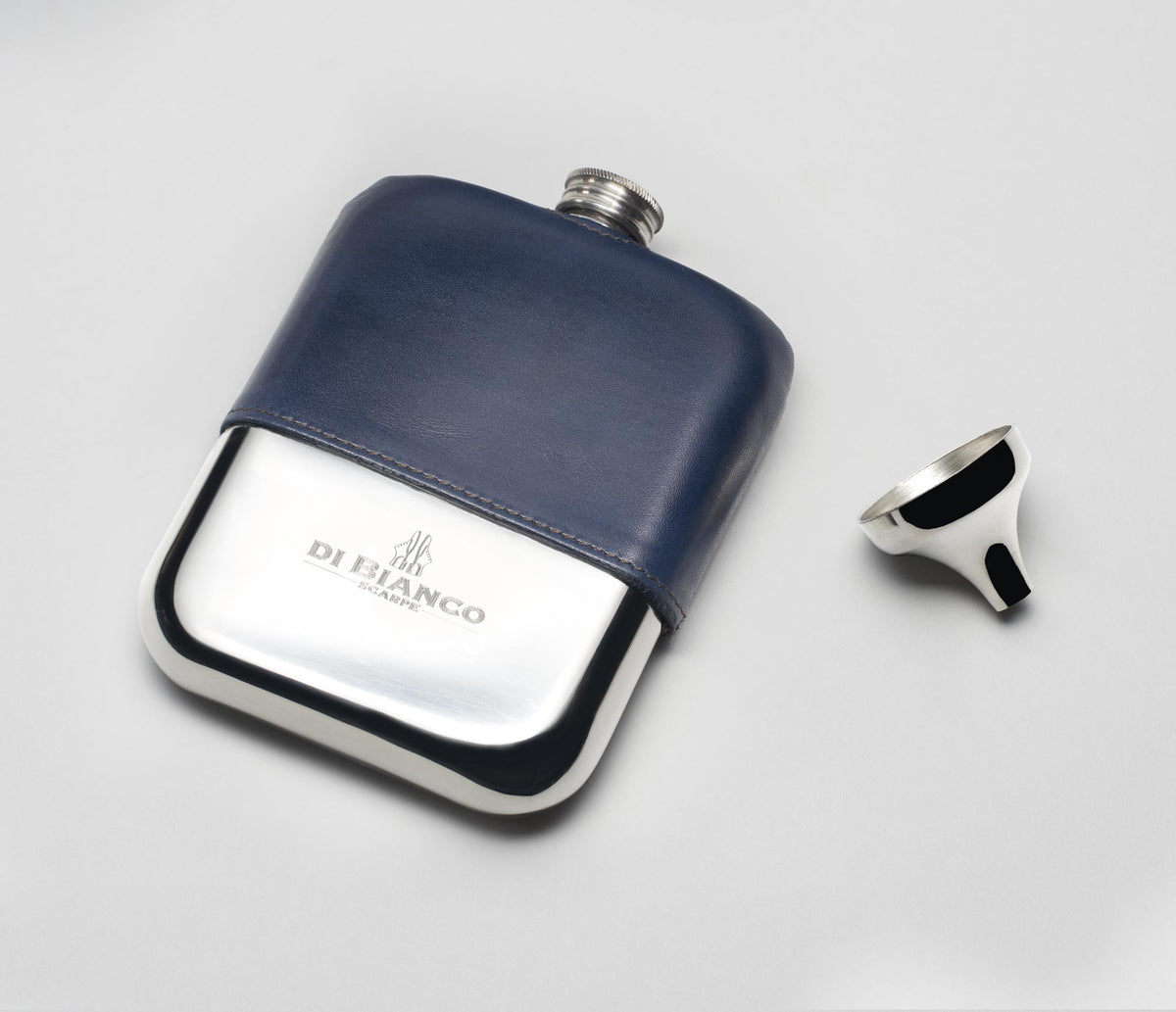 Leather Pewter Flask - Navy
