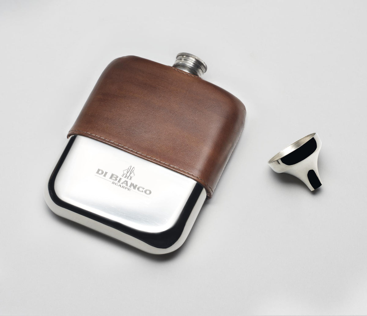 Leather Pewter Flask - Reverse Sombrero
