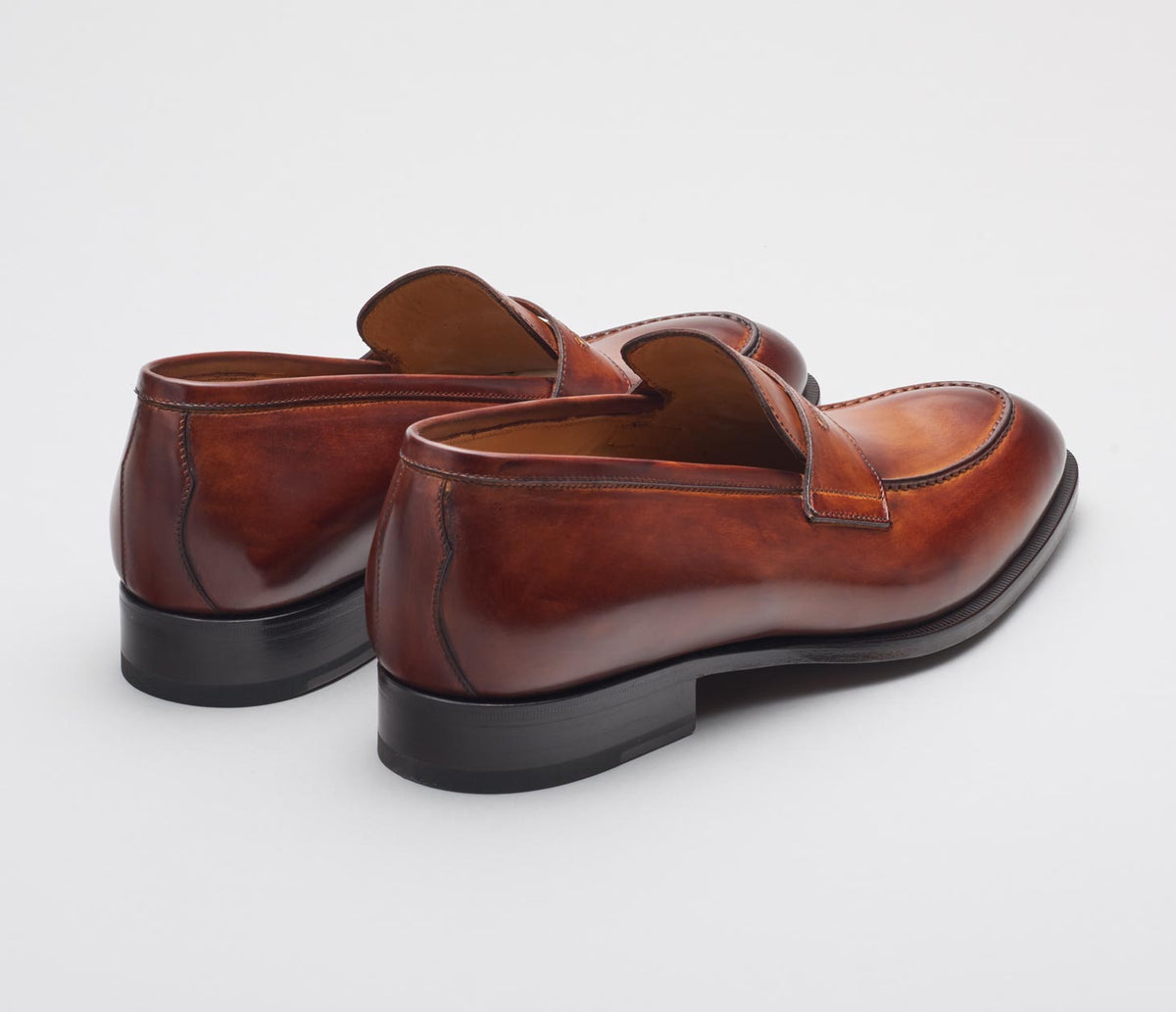 Amato Leather Deco Loafer in Marmo