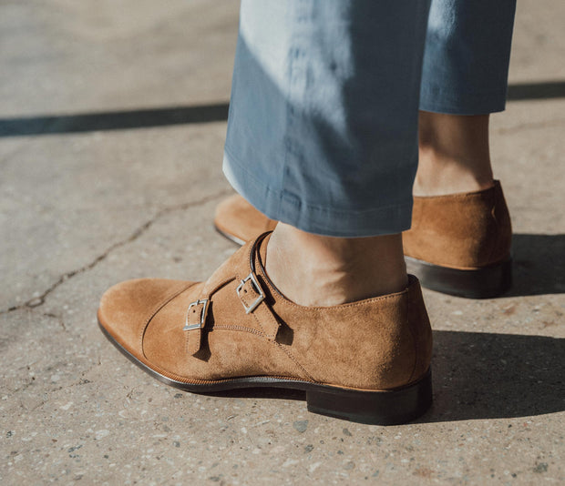 Palermo Suede Monkstrap in Sigaro
