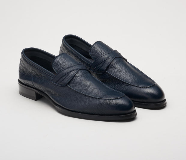 Men's italian shoes, men's suede loafer navy