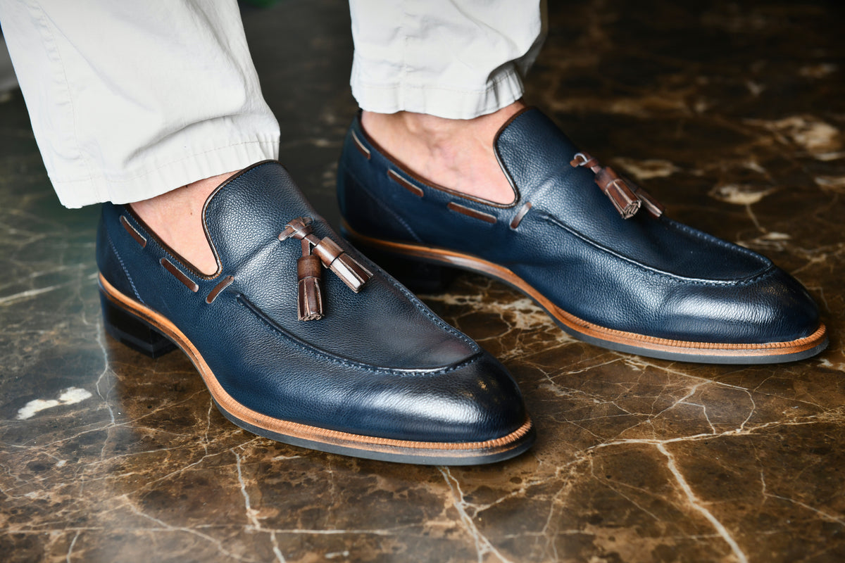 The Napoli Navy Men's Suede Loafers