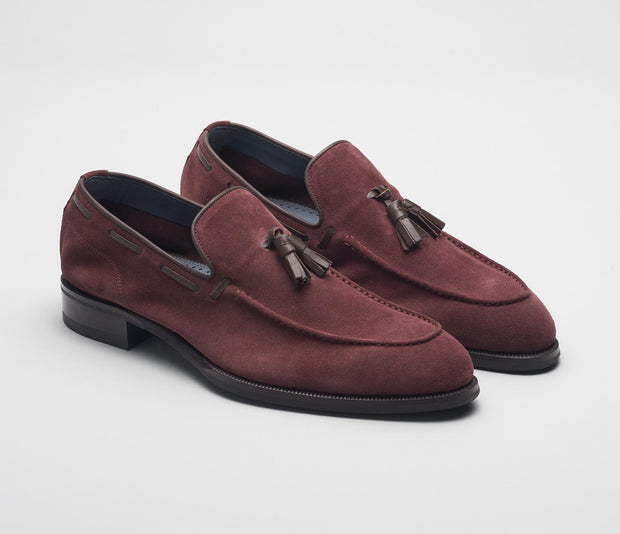 Men's tassle loafer burgundy suede, made in italy, handmade