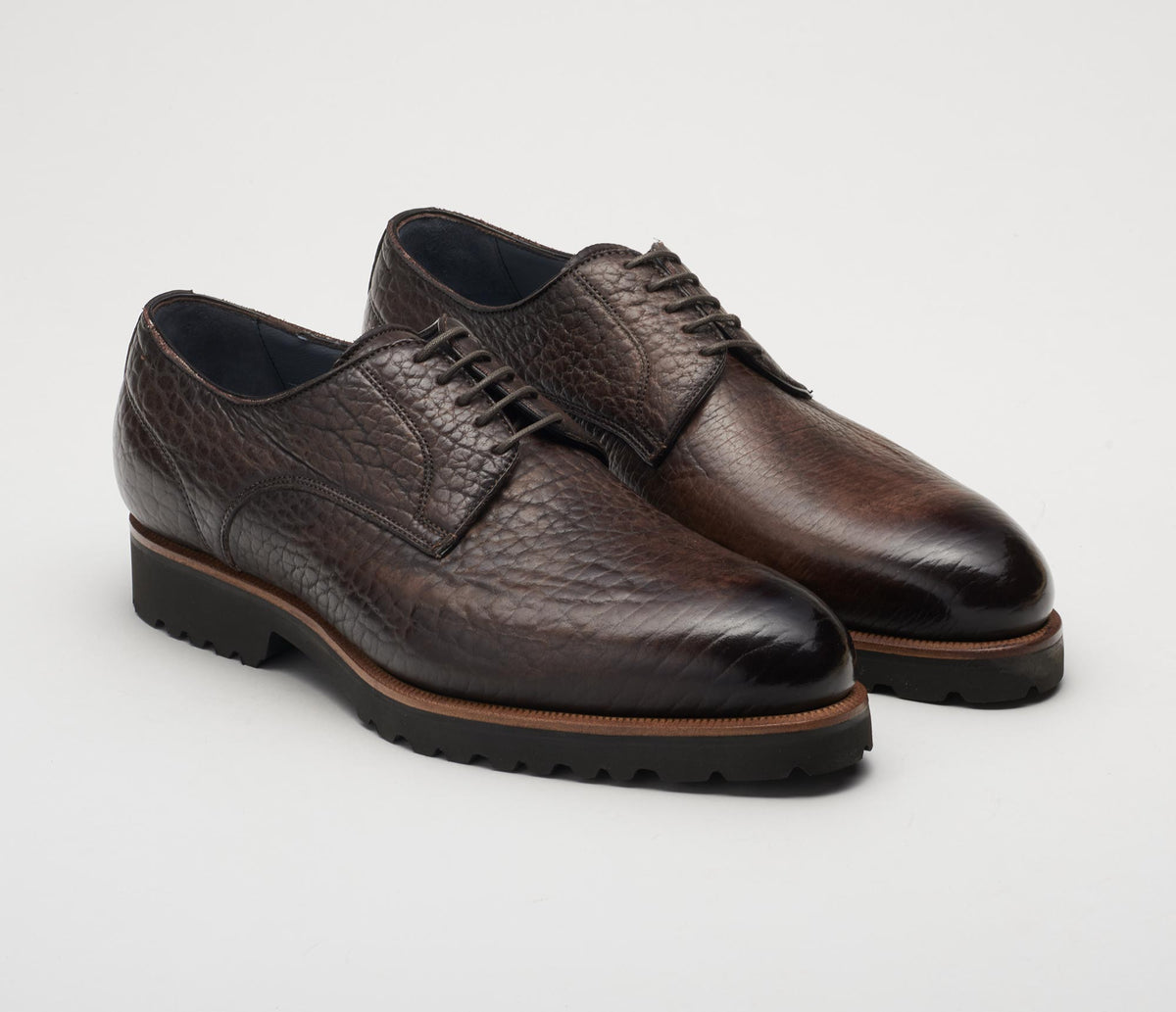 Men's brown  derby in soft leather, made in Italy, handmade
