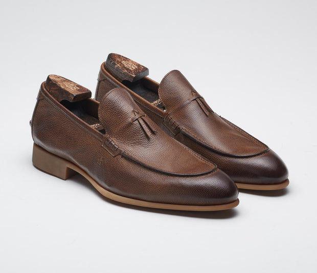 Men's italian shoes, men's tassel loafer brown