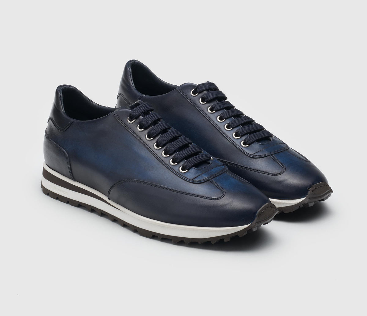 The Trieste Navy Leather Sneakers for Men