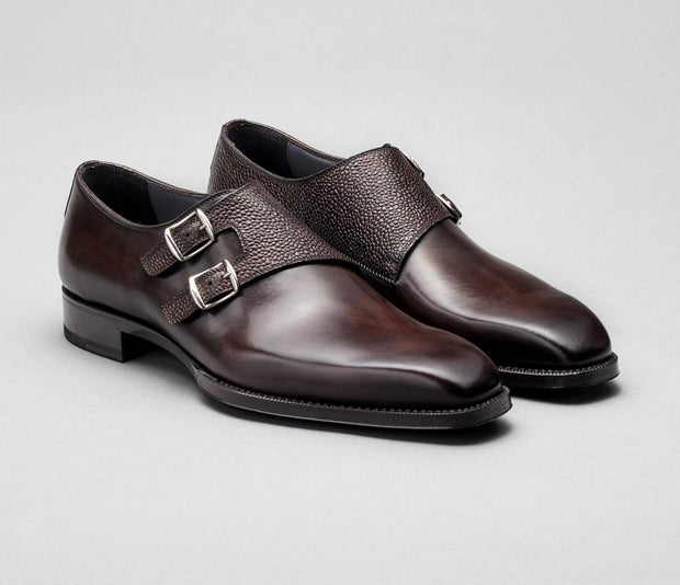 Novara Pebble Grain Monkstrap in Nero Fondente