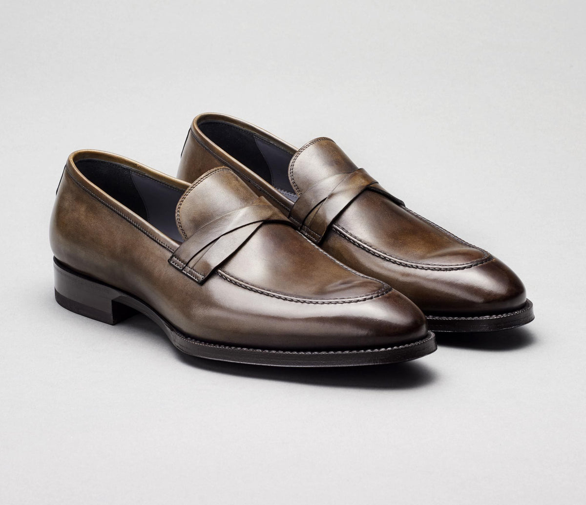 Siena Leather Loafer in Stone Grey