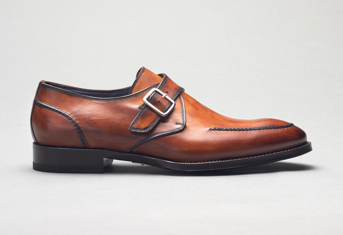 Verona Leather Monkstrap in Marmo