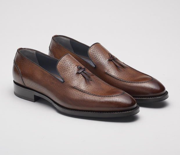 Livorno Pebble Grain Loafer in Tabacco
