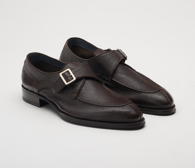 Men's dark brown monk strap in pebble leather, made in Italy, handmade