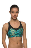 Printed Forest Sports Bra - Black/Fins