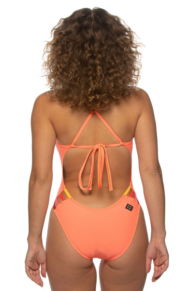 Gavin Swim Onesie - Papaya/Multicolor
