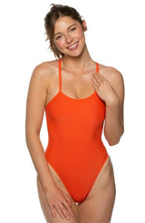 Jackson Swim Onesie - Blood Orange