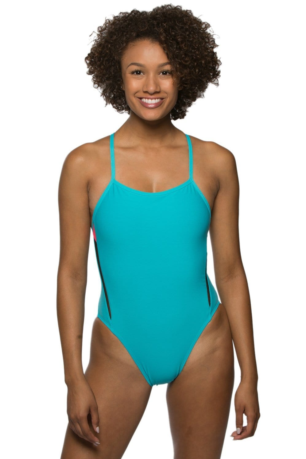 Remo Swim Onesie - Hawaii Blue/Hot Pink