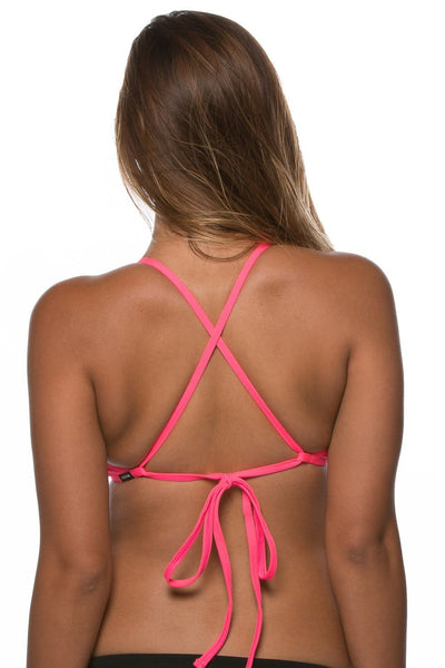 Austin Bikini Top - Hot Pink/Black/Highlighter Yellow