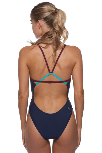 Perry Fixed-Back Onesie - Navy/Cabernet/Hawaii Blue