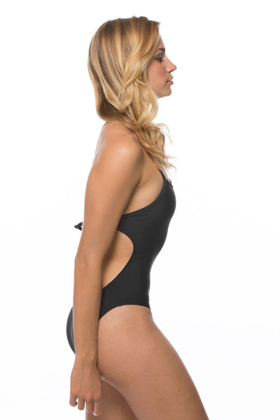 Jordy Swim Tie Strapped Onesie - Black
