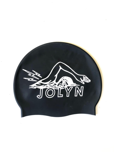swimming cap with fun design of swimmer