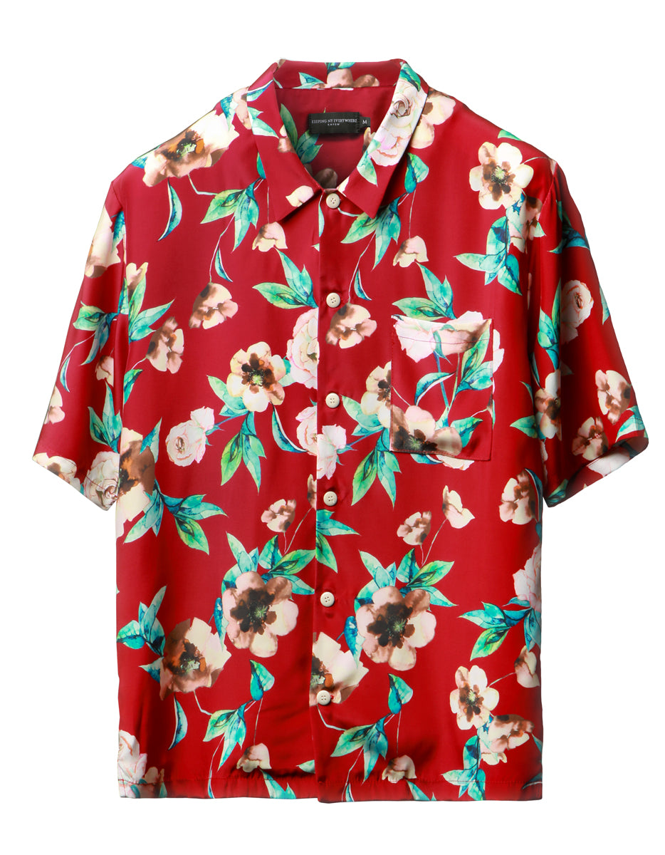 Red Floral Silk Cabana Shirt