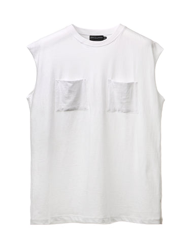 White Dual Pocket Sleeveless Tee
