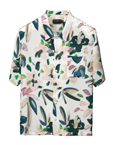 White Floral Silk Cabana Shirt
