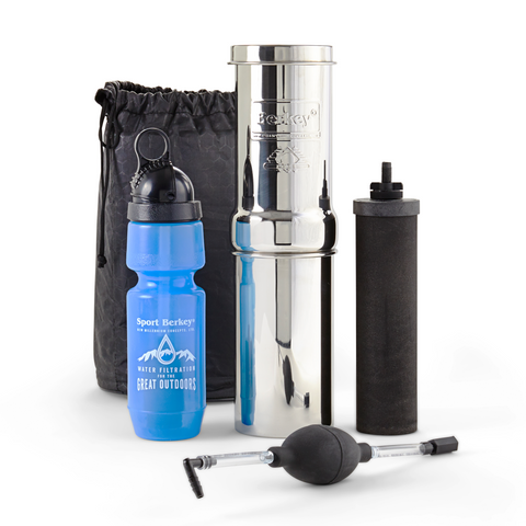 Go Berkey portable water filter for clean water when you're traveling