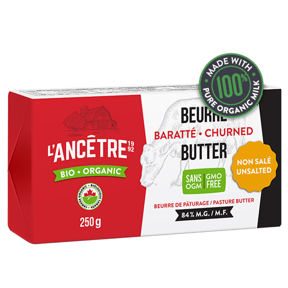 L'Ancetre Organic Unsalted Grass-Fed 1/2 lb Butter