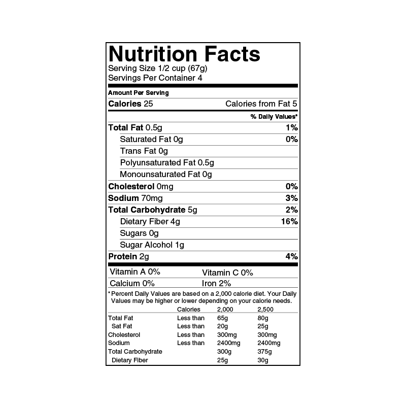 Low calorie ice cream nutrition label wink