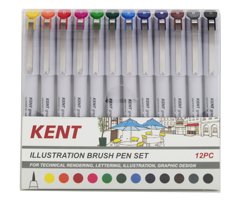Kent Illustration Brush pen Set 12pc