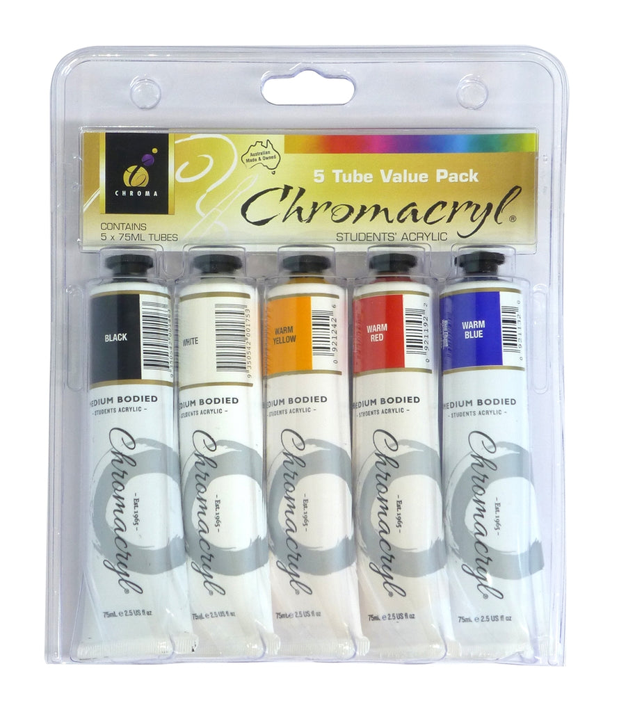 Paint Chromacryl 5 tube set Warm Colours