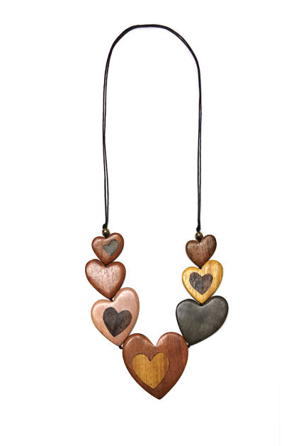 Necklace Multi Heart Wooden